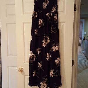 Navy Flowered Maxi Dress